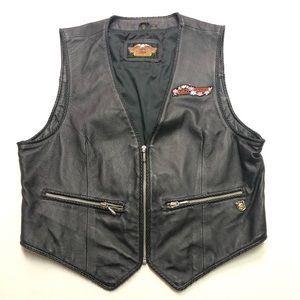 Harley Davidson Women's Leather Vest Embroidered